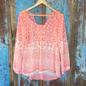Blu Pepper Coral Floral Sheer Boho Top
